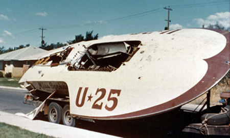 Wrecked hull of Miss Spokane, 1960